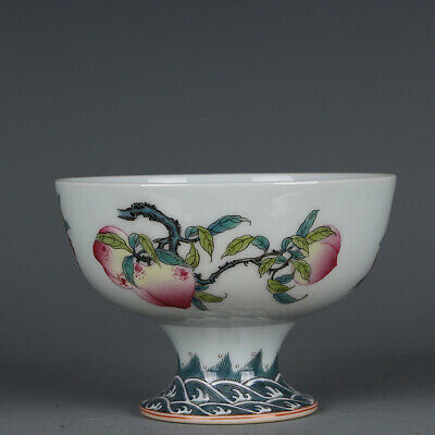 """Chinese Fine Old Porcelain qianlong famille rose Peach Pomegranate Teacup 4.7"""""""
