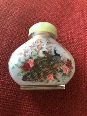 Antique Chinese Snuff Bottle Reverse Painted Signed Jade Stopper Peacock