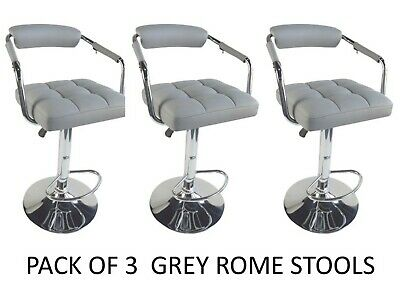 3 X Rome Grey Deep Padded Plush Gas Swivel Breakfast Bar Kitchen Bar Stools ROME