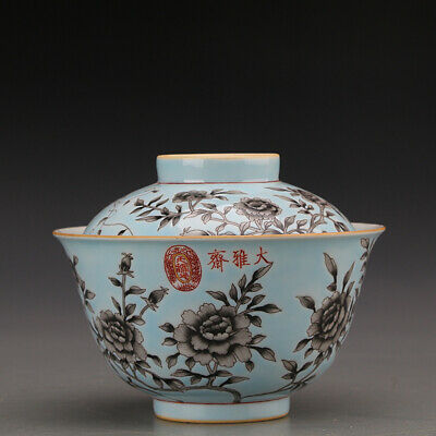 """Rare Old Chinese Fine Porcelain Hand painting blue famille rose peony bowl 5.1"""""""