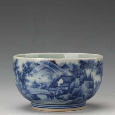 """Chinese Fine Porcelain kangxi marked Blue white landscape character Teacup 3.5"""""""