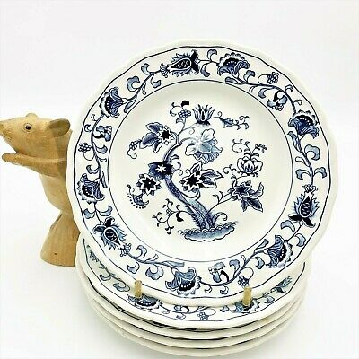 Set x 5 Blue & White Ironstone 16cm Side Plates, Scalloped Rim, Nikko Japan