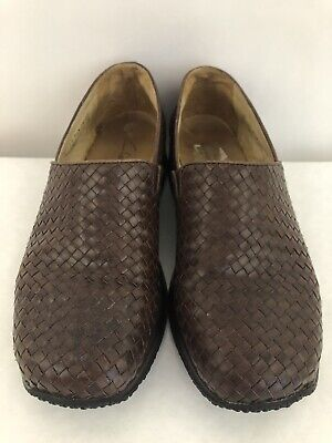 Women's CLARK'S Brown Weaved Slip On Leather Shoes Size 7.5 M