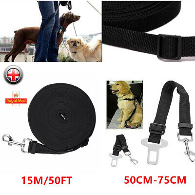 Pet Dog Training Lead Puppy Leash Collar Harness Long Line Strong Rope Black UK