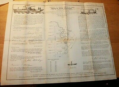 1846 Origin Of Steam Navigation & Map Of Collect Pond New York City
