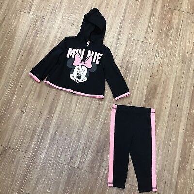 Infant Baby Girls Disney Minnie Mouse Pink Black Jogging Suit 6-9 Mo NEW NWOT