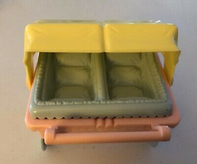 Playskool Dollhouse Baby Furniture Buggy Stroller Twin Removable Seat