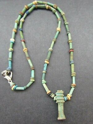 NILE  Ancient Egyptian Djed Column Amulet Mummy Bead Necklace ca 600 BC
