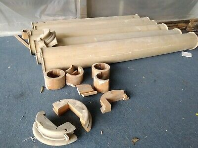 Set of 6 Large Vintage Round Wooden Porch Columns 12 ft tall & 16 inch diameter