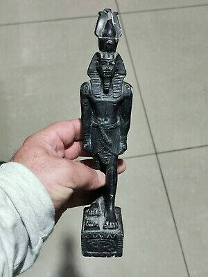 Intact  Rare Ancient Egyptian Stone Black Shabti Statue Of Ramses.577 Gr.250 Mm