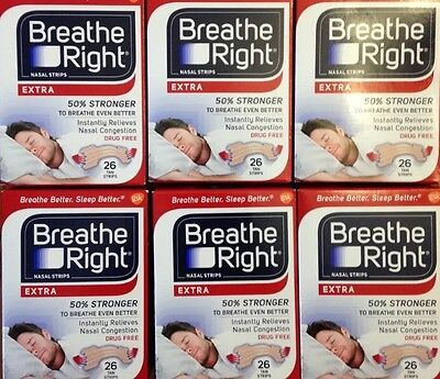 156 Breathe Right Nasal Bandes Extra Taille Nez Arrêt Ronflement Sommeil Haleine