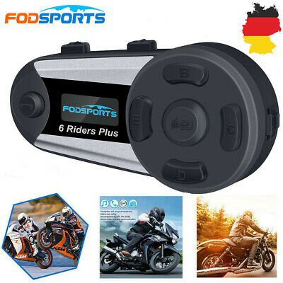 1200m Motorrad Helm Sprechanlage V6 Plus Bluetooth Intercom Headset FM 6Rider DE