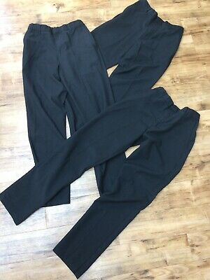 3 Pairs Boys Marks Spencer Black School Trousers Age 14 - 15 - See Photos