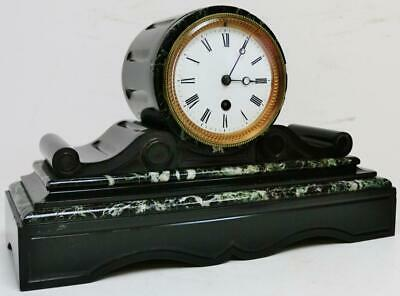 Small Antique French 8 Day Timepiece Slate & Green Marble Drumhead Mantel Clock