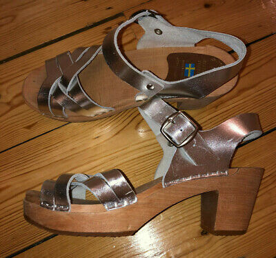 Silver Leather Wooden Clogs UK 5 Alstermo Toffeln