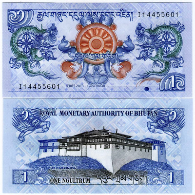 Bhutan 1 Ngultrum 2013 Uncirculated Banknote Currency Money