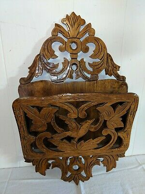 "Antique Carved Wood Victorian Wall Hanging Magazine Newspaper Rack Bird 23"" x"