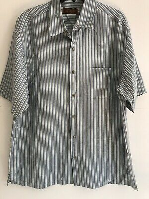 tasso elba mens large blue cream stripe silk short sleeve shirt