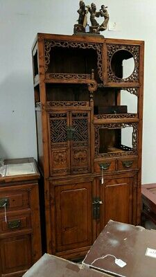Antique Chinese Peach wood Carved Cabinet