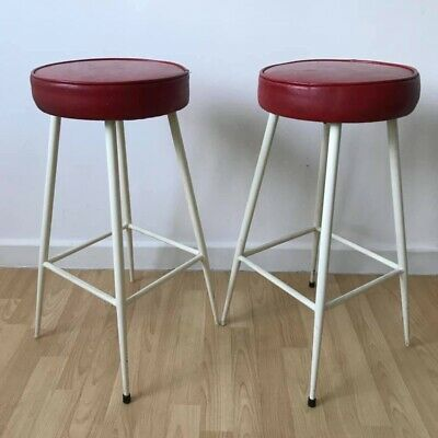Pair Of Vintage, Mid Century, Metal Bar Stools, Nationwide Delivery Available.
