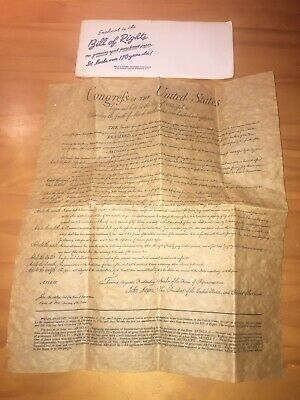 Bill Of Rights Authentic Reproduction On Genuine Parchment Paper