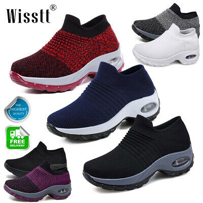 Women Lady Sport Air Cushion Sneakers Breathable Mesh Walking Slip-On Gym Shoes