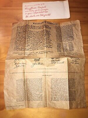Mayflower Compact Authentic Reproduction On Genuine Parchment Paper