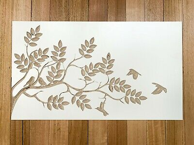 Birds On Branches Carved Wooden Wall Art White Birch Plywood Decor Natural Wood