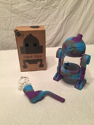 (Blue, Purple & Grey) Silicone Android Star Wars R2D2 Tobacco Water Pipe Bubbler