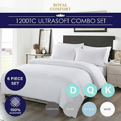 Royal Comfort 1200TC Fitted Sheet Quilt Cover and Pillowcase Combo Set UltraSoft