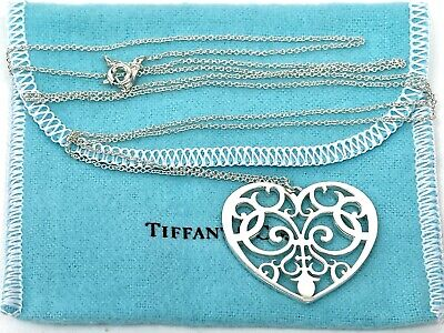 """Tiffany & Co. Sterling Silver 925 Enchant Heart 30"""" Necklace Box Pouch"""