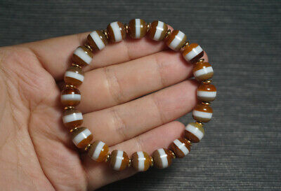 China Natural handcarved brown old agate one Line Pharmacist beads Bracelet