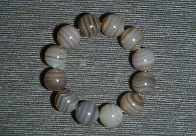 Chinese 100% Natural handcarved gray agate wrapping wire beads Bracelet 20mm