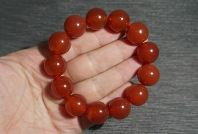 Fine Chinese 100% Natural handcarved red agate beads lucky Bracelet 17mm