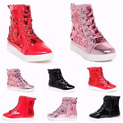 New girls patent glitter sequins black pink fur lining boots pink black red size