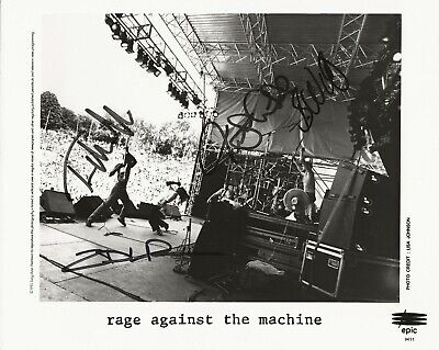 Rage Against The Machine REAL hand SIGNED Promo Photo JSA LOA Zach +3
