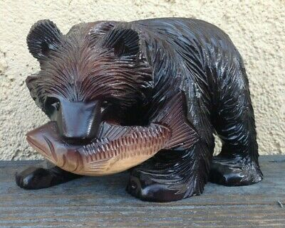 Handcrafted Iconic Ainu Hokkaido Japanese Carved Wood Bear Sculpture With Salmon