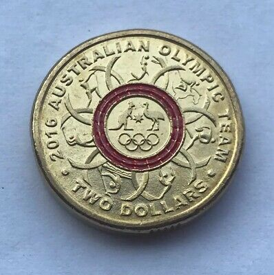 2016 Olympic Team $2 Two Dollar Coin Red Colour Commemorative Australian coin
