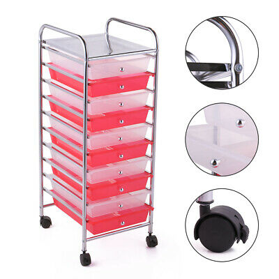 Rolling Storage Cart Organizer Plastic Cabinet with 10 transparent drawers