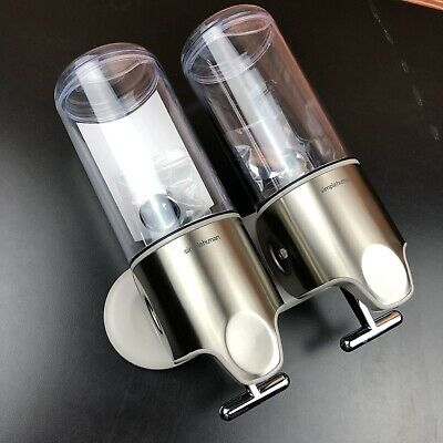 Simple Human Double Wall Mount Pumps Shower Shampoo Conditioner Stainless Steel