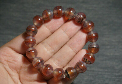 China 100% Natural handcarved old red agate wrapping wire beads lucky Bracelet