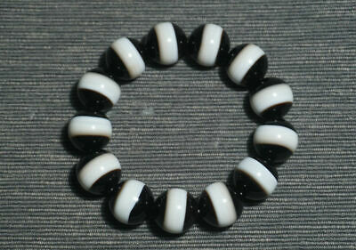Fine China Natural handcarved old agate one Line Pharmacist beads Bracelet 18mm