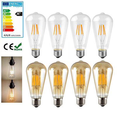 LED E27 Edison Filament Bulb Light ST64 Retro Vintage Screw Globe Lamp 4W 6W 8W