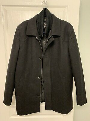 Vince Camuto Wool Dress Coat Mens Size L Large Black Pre-Owned