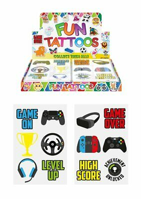 24 x GAMER GAMING Temporary Tattoos Kids Childrens Boys Party Bag Filler Toy
