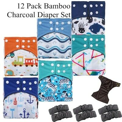 12Pack Reusable Waterproof Bamboo Charcoal One Size Pocket Cloth Diaper Set