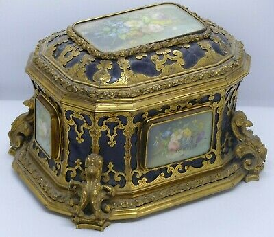 Large Antique 19th Century French TAHAN Ormolu – Floral Box / Casket – Signed