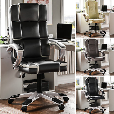 Executive Office Chair Computer Gaming Swivel Wheels Adjustable Home Leather