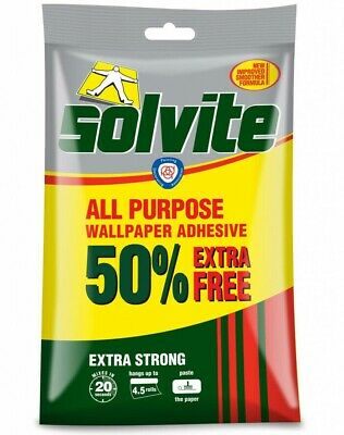 Solvite All-Purpose Extra Strong Wallpaper Paste Adhesive -Hangs up to 4.5 Rolls