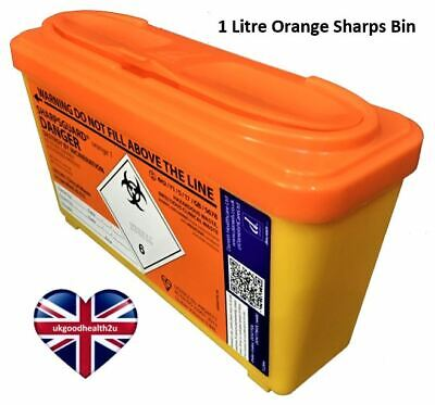 Daniels SHARPSGUARD® Orange 1 litre Sharps Bin Container Safe Needle Disposal